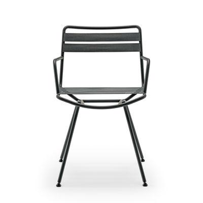 Mobilier - Chaises, fauteuils de salle à manger - Fauteuil Dan / Sangles élastiques - Zanotta - Sangles anthracite / Structure noire - Acier verni, Sangles élastiques polyester