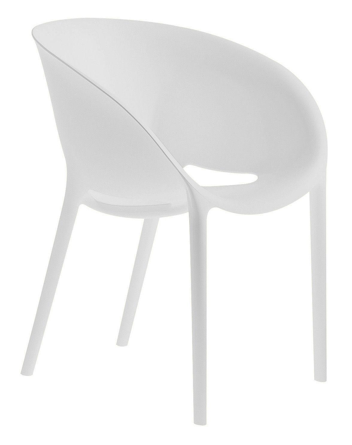 Mobilier - Chaises, fauteuils de salle à manger - Fauteuil empilable Soft Egg / Polypropylène - Driade - Blanc - Polypropylène