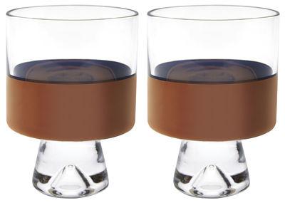Tischkultur - Gläser - Tank Glas / niedrig - H 11 cm - 2er Set - Tom Dixon - Transparent / Kupfer - mundgeblasenes Glas
