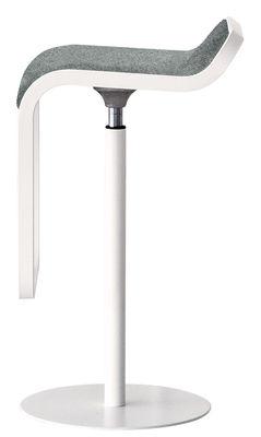 Möbel - Barhocker - Lem Höhenverstellbarer Barhocker / drehbare Sitzfläche mit Stoffbezug - Lapalma - Bezug grau-meliert / Gestell weiß - Gewebe, lackiertes Metall