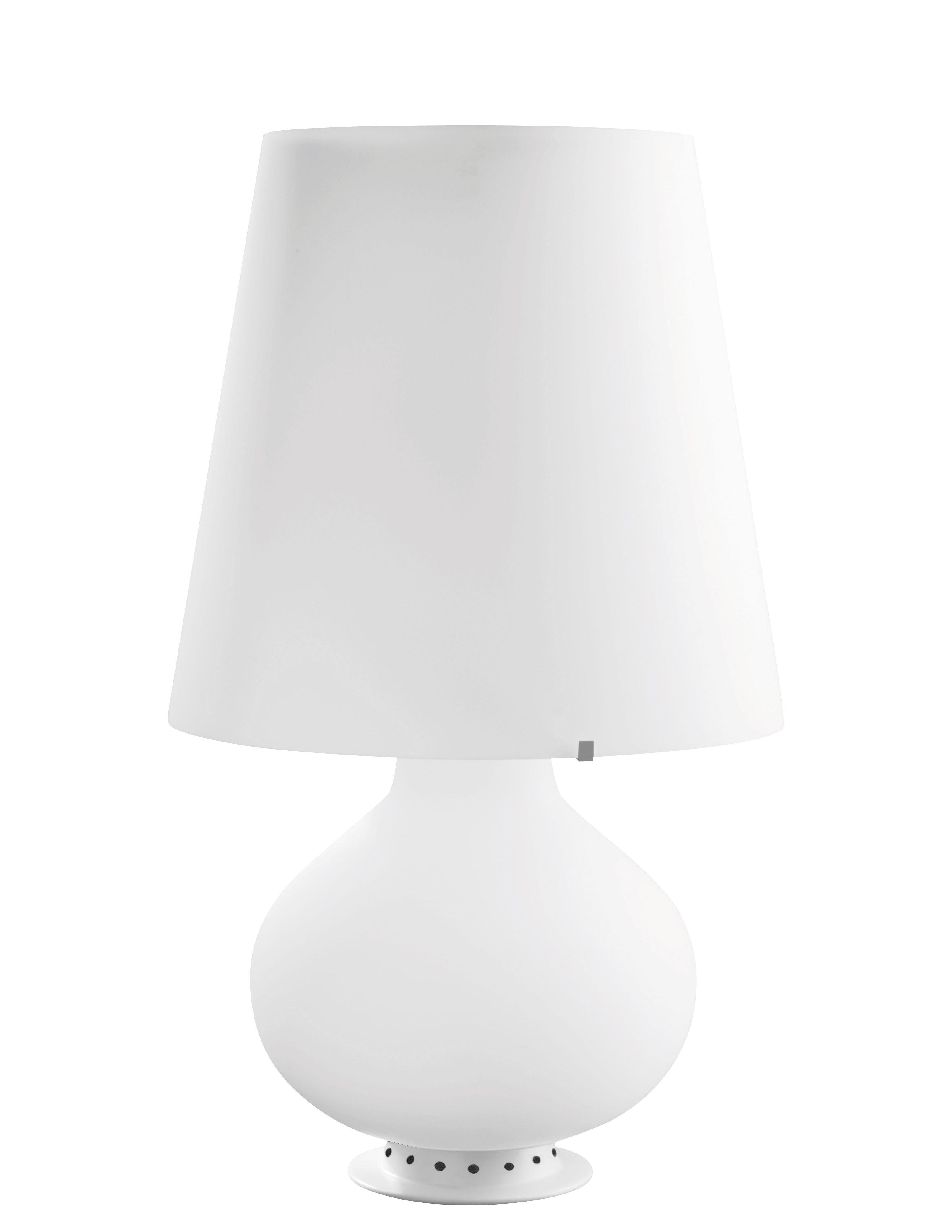 Illuminazione - Lampade da tavolo - Lampada da tavolo Fontana Medium - / LED - H 53 cm di Fontana Arte - H 53 / bianco - Metallo, vetro soffiato