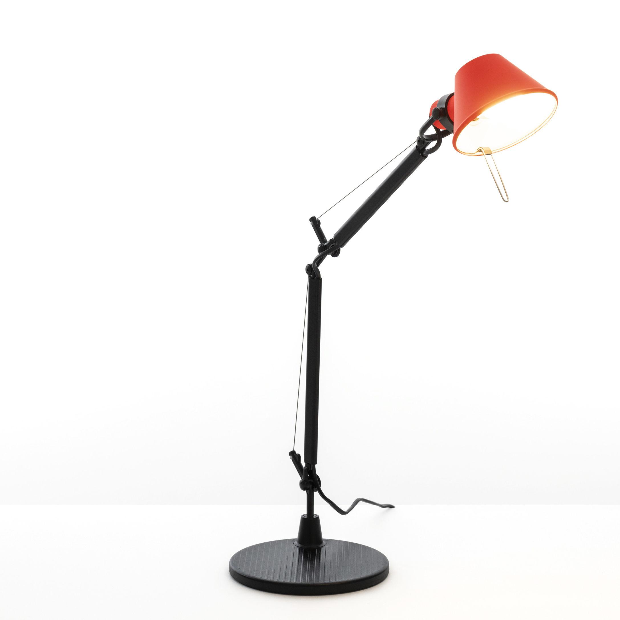 Illuminazione - Lampade da tavolo - Lampada da tavolo Tolomeo Micro Bicolor di Artemide - Corallo / Nero - Acciaio, Alluminio