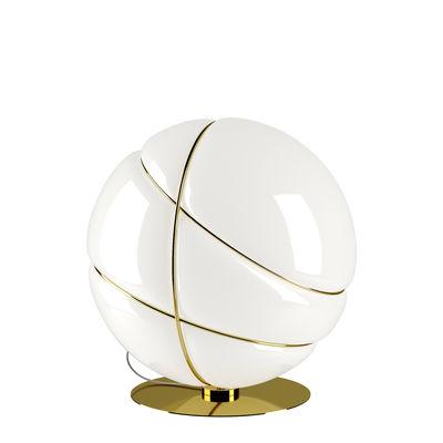 Luminaire - Lampes de table - Lampe de table Armilla / Ø 36 cm - Verre - Fabbian - Blanc / Anneaux dorés - Métal, Verre soufflé
