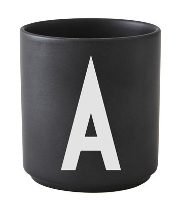 Mug A-Z / Porcelaine - Lettre A - Design Letters noir en céramique