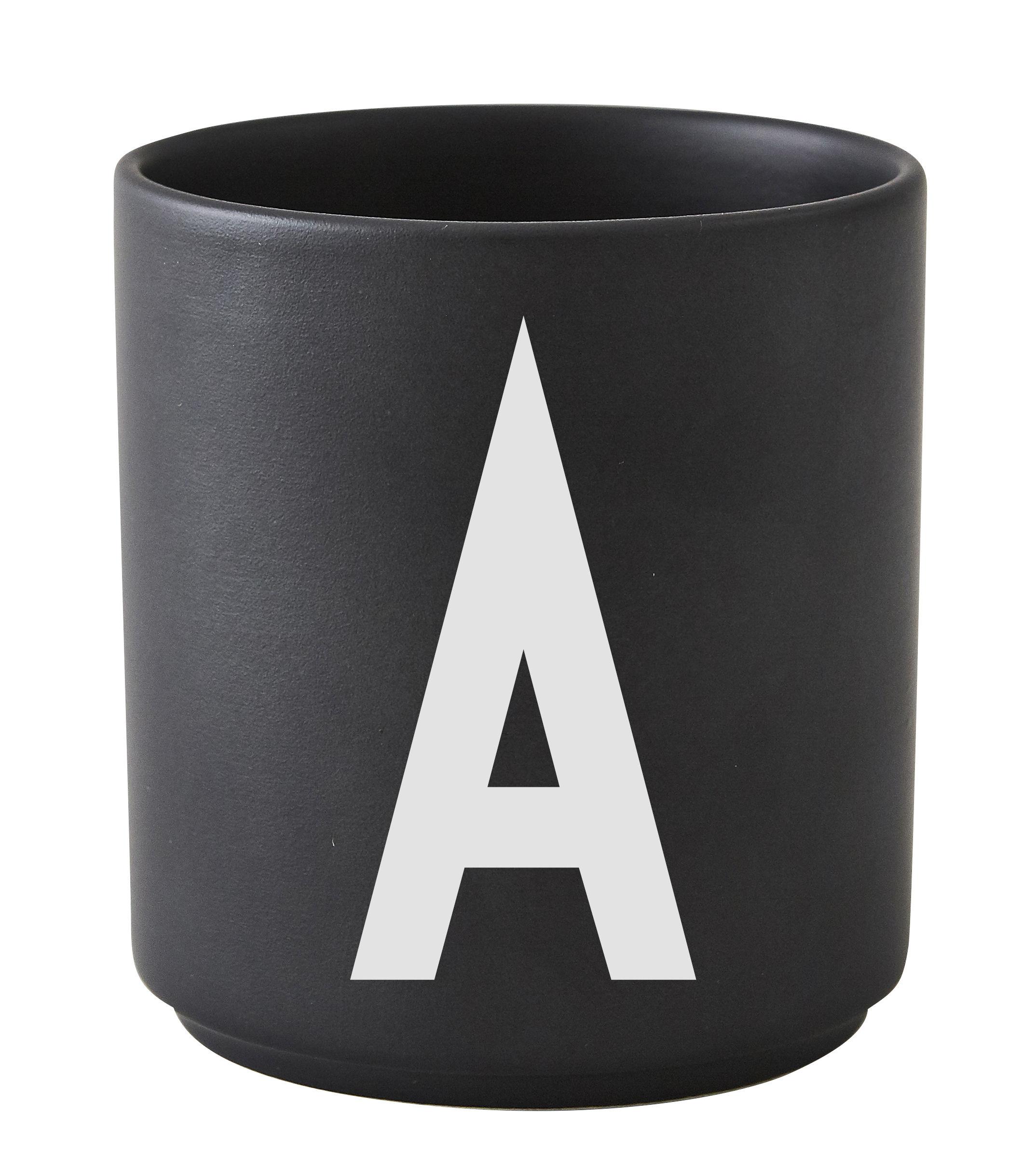 Tableware - Coffee Mugs & Tea Cups - Arne Jacobsen Mug - / Porcelain - Letter A by Design Letters - Black / Letter A - China