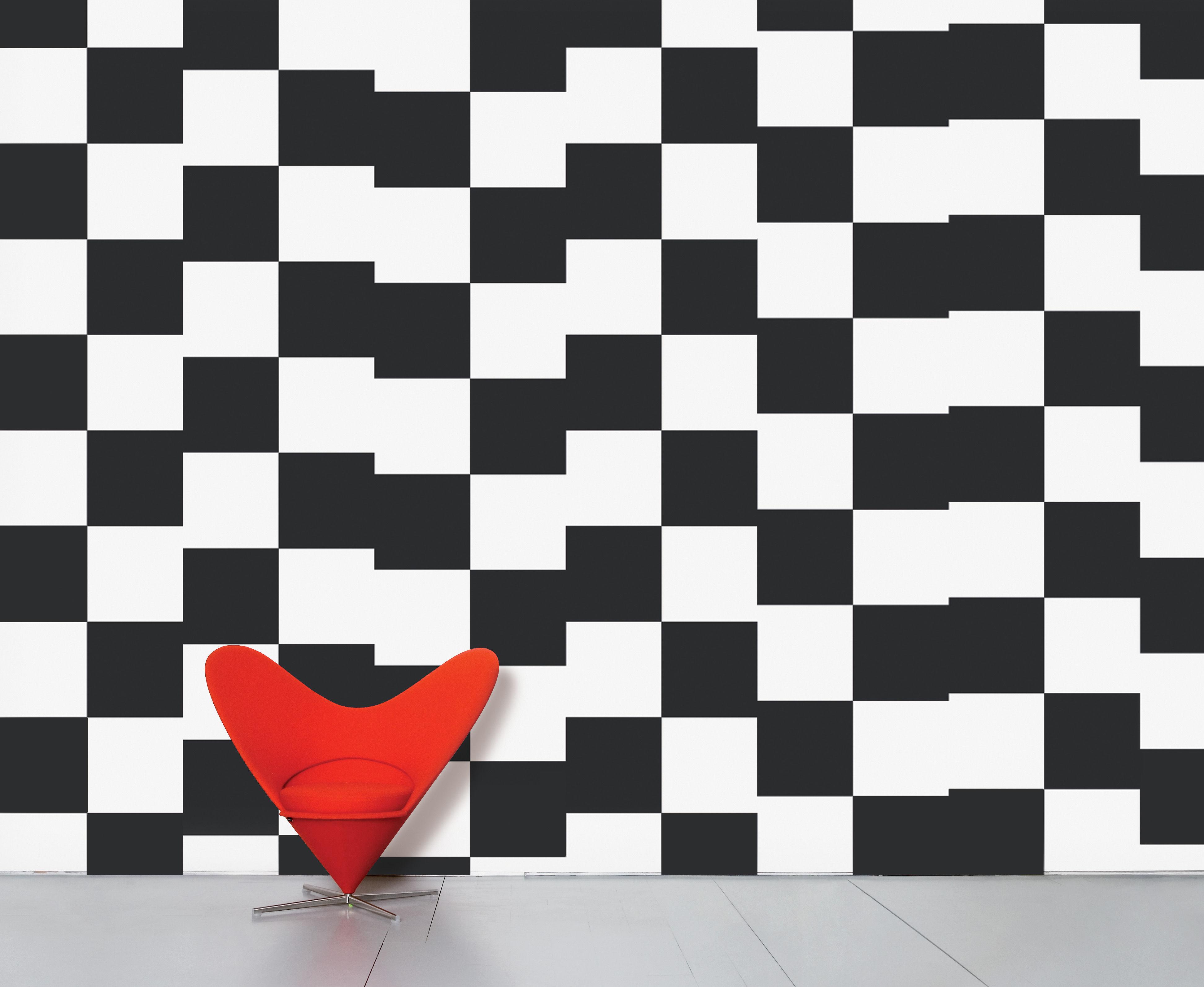 Dekoration - Stickers und Tapeten - WallpaperLab Damier Panorama-Tapete / 8 Bahnen - limitierte Auflage - Domestic - Damier / schwarz & weiß - imprägniertes Papier