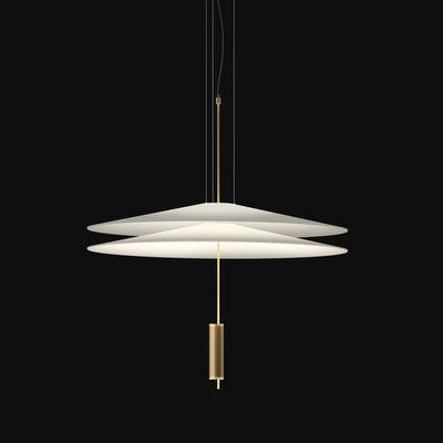Lighting - Pendant Lighting - Flamingo Pendant - LED / Ø 70 cm by Vibia - Gold diffuser / White shades - Acrylic, Metal, Methacrylate