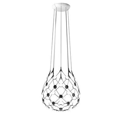 Lighting - Pendant Lighting - Mesh LED Small Pendant - / Ø 55 x H 55 cm by Luceplan - Ø 55 cm / Black - Polycarbonate, Steel