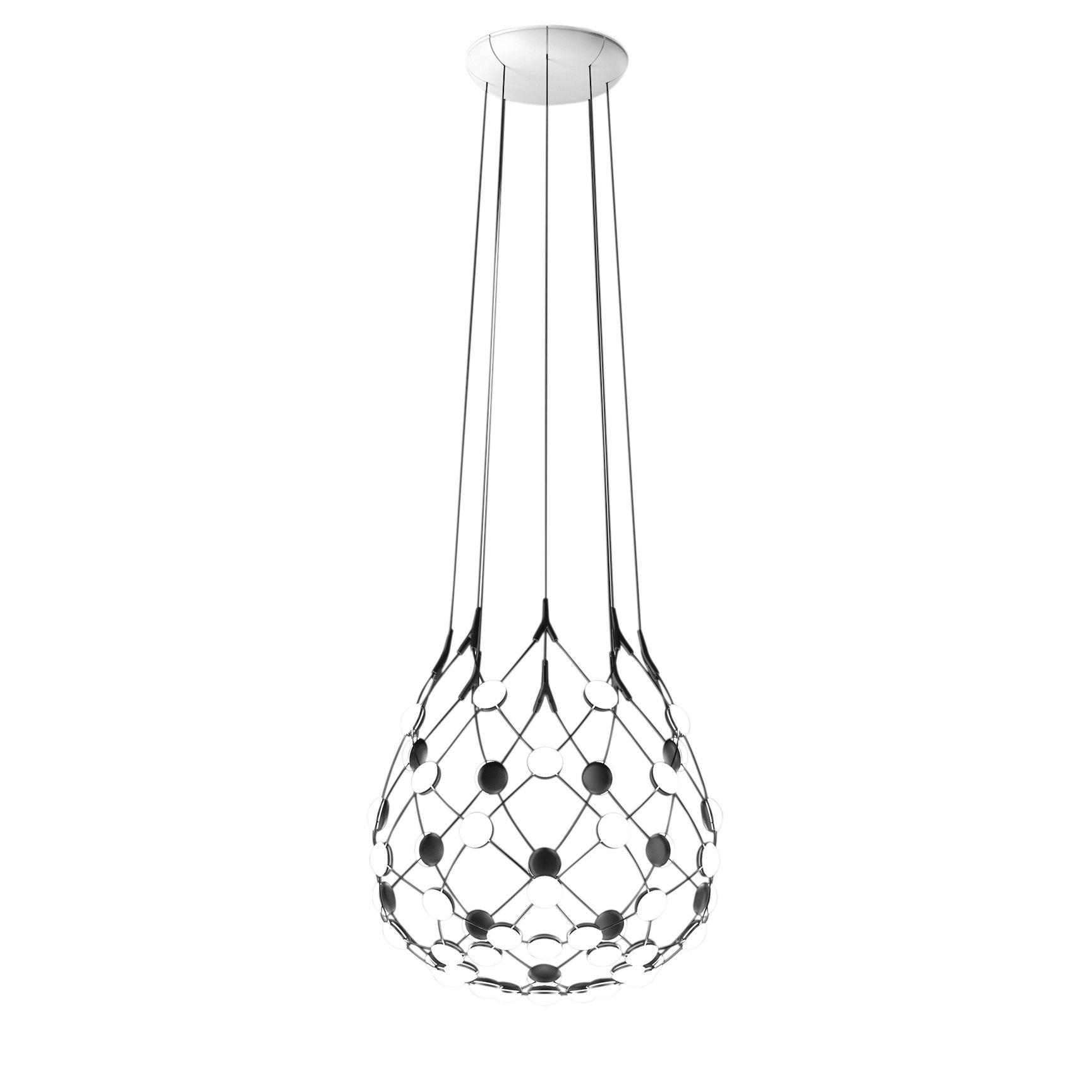 Leuchten - Pendelleuchten - Mesh LED Small Pendelleuchte / Ø 55 cm x H 55 cm - Luceplan - Ø 55 cm / schwarz - Polykarbonat, Stahl