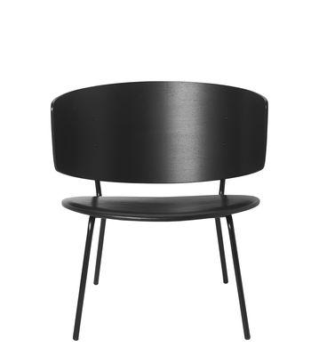 Arredamento - Poltrone design  - Poltrona bassa Herman Lounge - / Cuoio di Ferm Living - Cuoio nero - Acciaio laccato, Compensato di rovere laccato, Pelle anilina