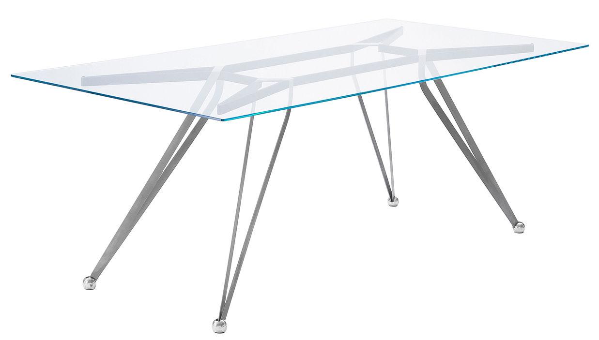 Möbel - Tische - Anonimus rechteckiger Tisch / Glas - 200 x 100 cm - Zeus - transparentes Glas / Fußgestell: schwarzbraun und Edelstahl - Acier inox, Aluminium, Glas, lackierter Stahl