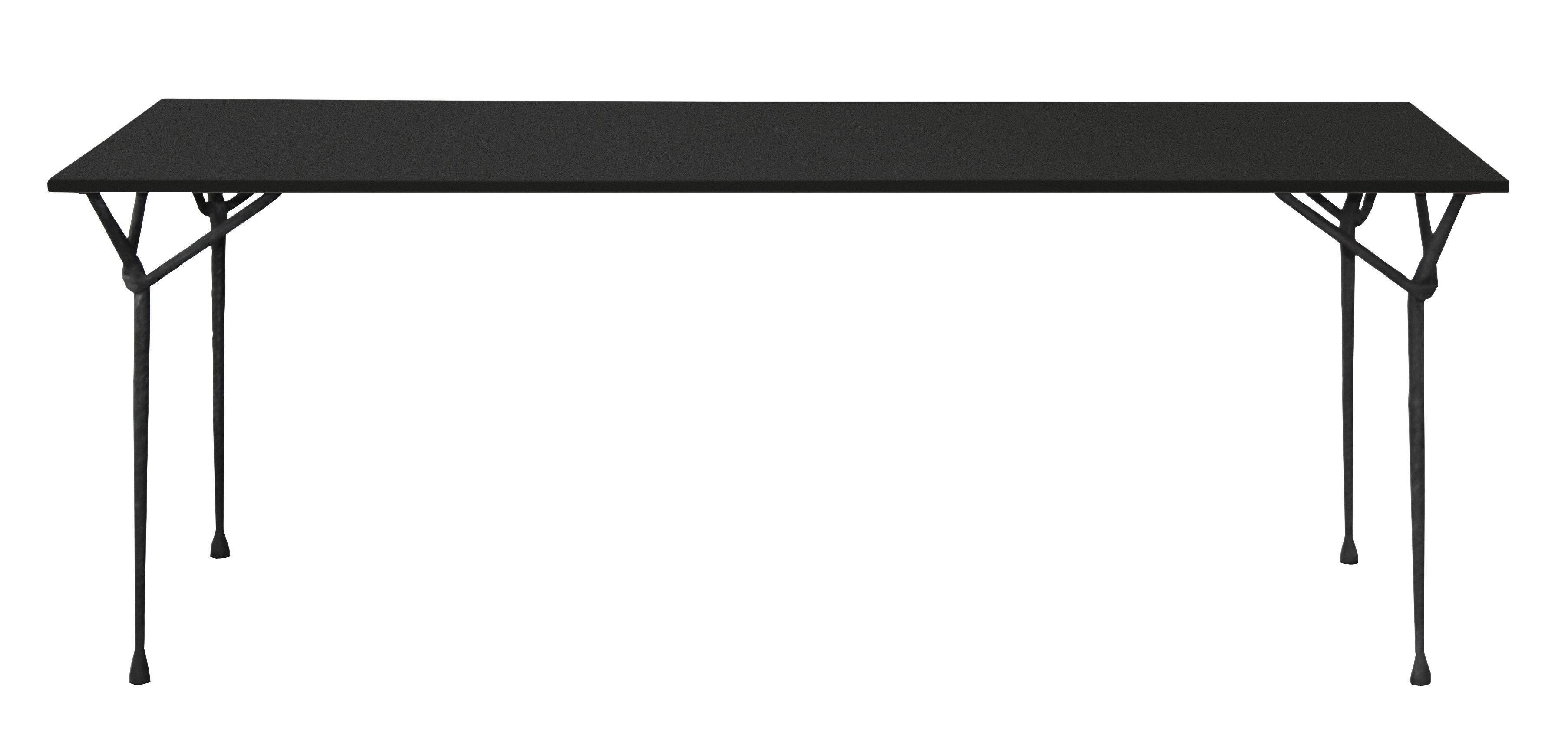 Outdoor - Tische - Officina Outdoor rechteckiger Tisch / 200 x 90 cm - Tischplatte aus Stahl - Magis - Stahl schwarz / Tischbeine schwarz - Eisen, Stahl