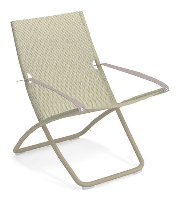 Outdoor - Sun Loungers & Hammocks - Snooze Reclining chair - / Folding - 2 positions by Emu - Beige / Taupe structure - Technical fabric, Varnished steel