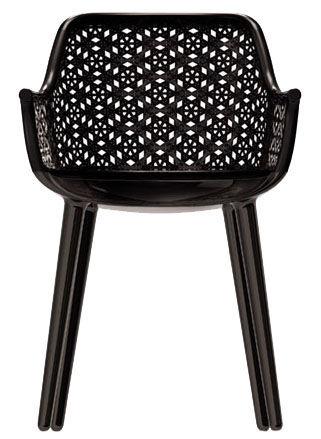 Möbel - Stühle  - Cyborg Elegant Sessel Rückenlehne Weidenrohr - Magis - Rückenlehne: Weidenrohr schwarz - Beine: schwarz glänzend - Osier teint, Polykarbonat