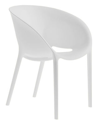 Furniture - Chairs - Soft Egg Stackable armchair - Polypropylen by Driade - White - Polypropylene