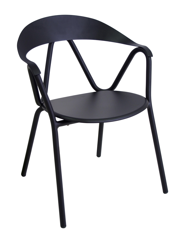 Möbel - Stühle  - Reef Stapelbarer Sessel / Metall - Emu - Schwarz - klarlackbeschichtetes Aluminium