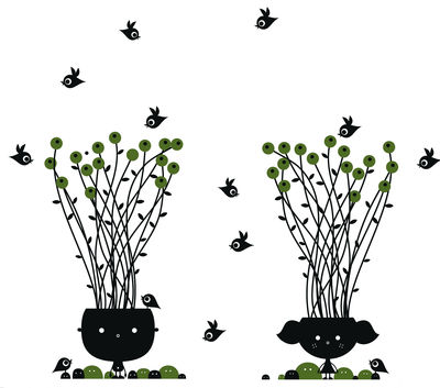Déco - Stickers, papiers peints & posters - Sticker Our love is growing - Domestic - Noir & vert - Vinyle