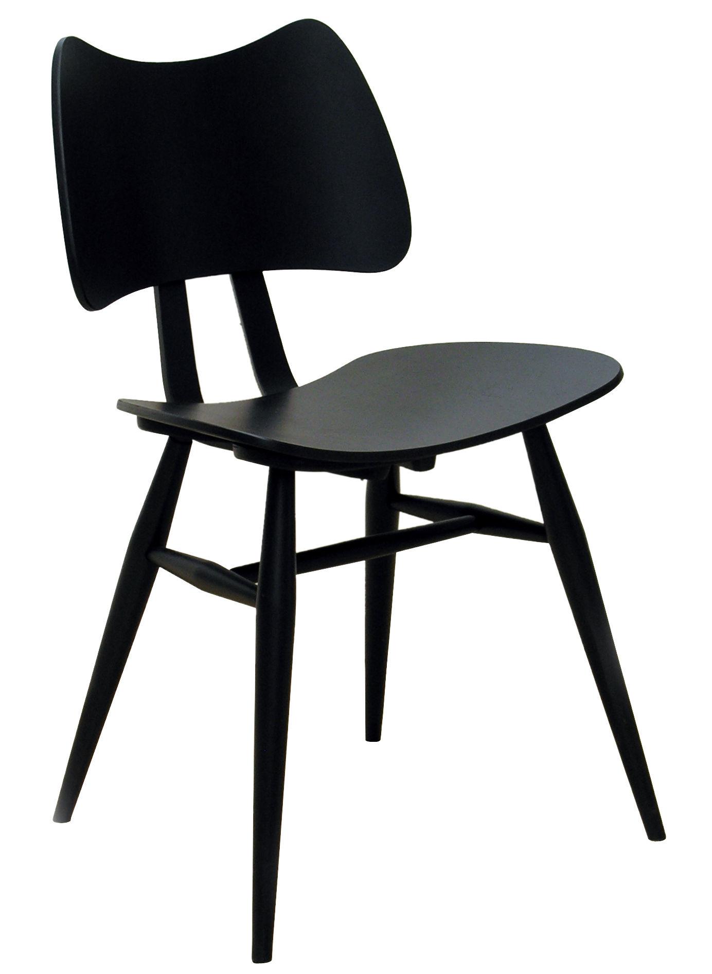 Möbel - Stühle  - Butterfly Stuhl / Neuauflage des Originals aus dem Jahr 1958 - Ercol - Schwarz - Contreplaqué de orme, massive Buche