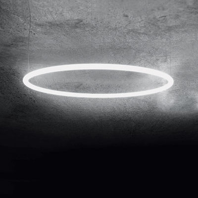 Luminaire - Suspensions - Suspension Alphabet of light Circular / LED - Ø 90 cm / Bluetooth - Artemide - Ø 90 cm / Blanc - Aluminium, Méthacrylate