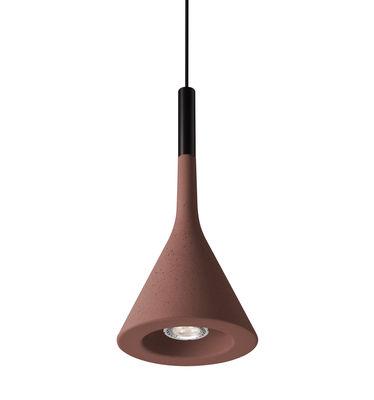 Suspension Aplomb LED / Ciment - Ø 17 cm x H 36 cm - Foscarini rouge en pierre