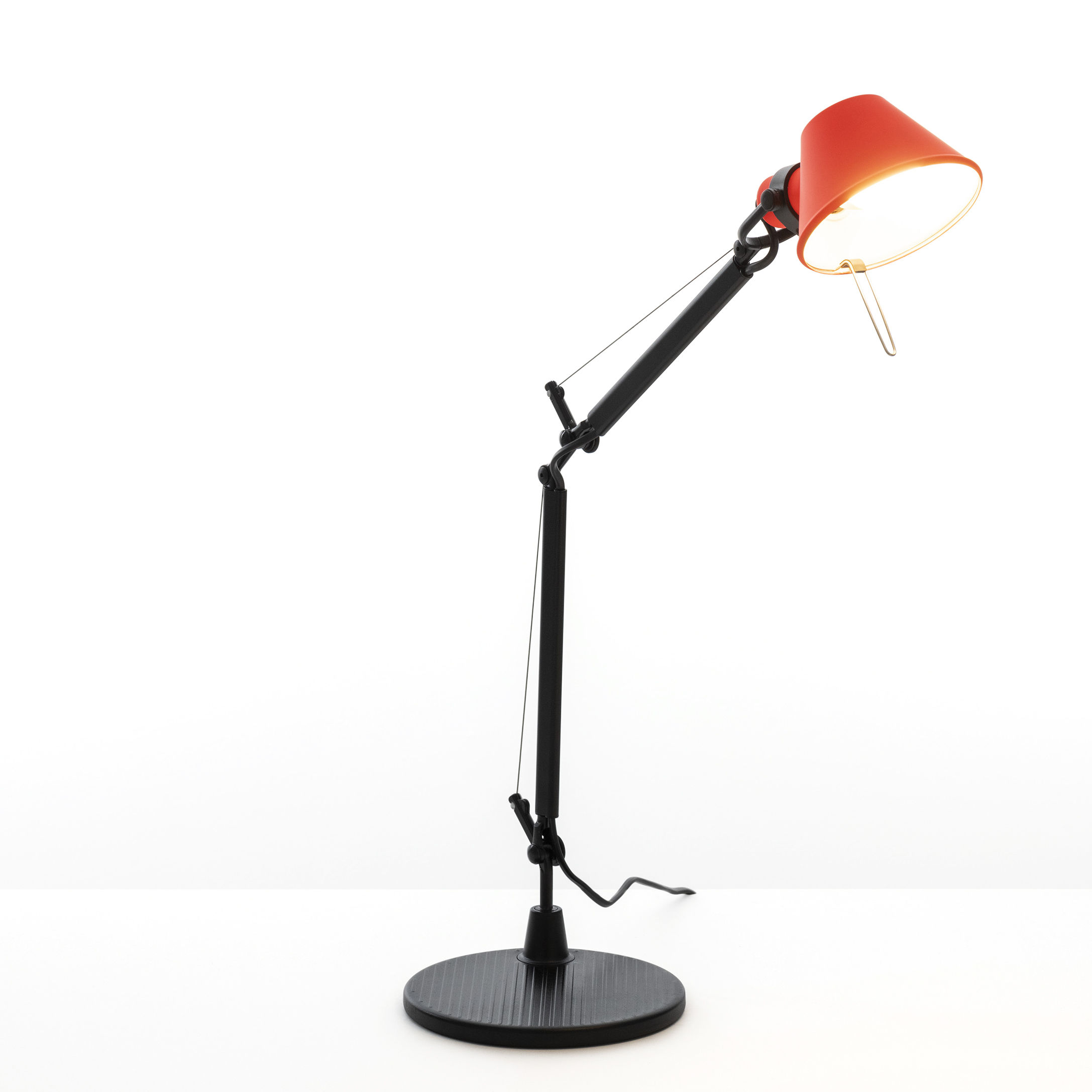 Lighting - Table Lamps - Tolomeo Micro Bicolor Table lamp by Artemide - Coral / Black - Aluminium, Steel