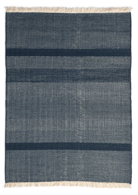 Interni - Tappeti - Tappeto Tres Texture - / 170 x 240 cm di Nanimarquina - Blu - Feltro, Lana di Nuova Zelanda