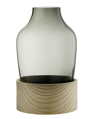 Decoration - Vases - Large Vase - Handblown glass and cedar - H 30 cm by Fritz Hansen - Smoked glass / Natural wood - Cedar, Mouth blown glass