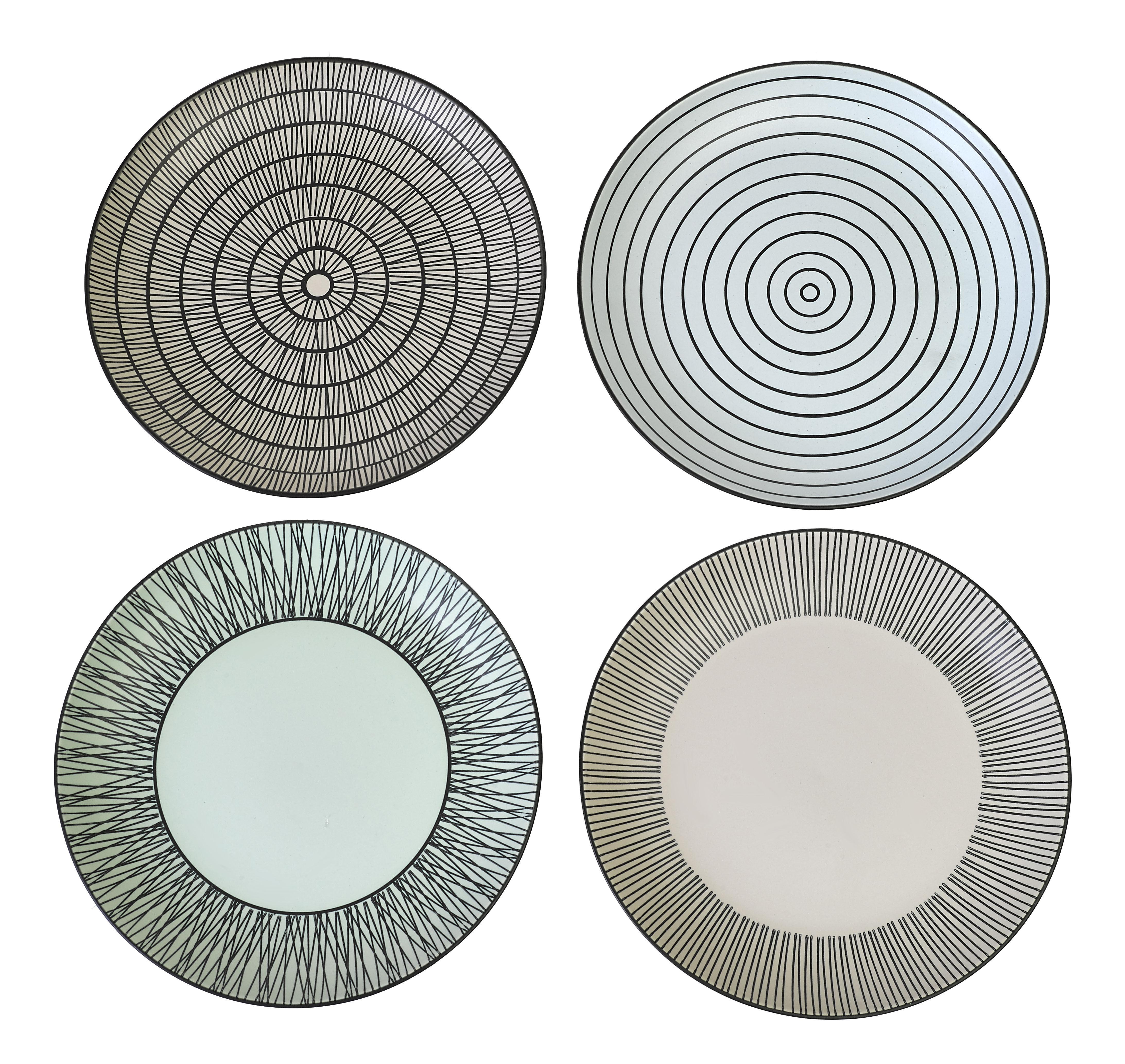 Arts de la table - Assiettes - Assiette à dessert Pastel Afresh / Ø 20 cm - Set de 4 - Peint à la main - Pols Potten - Noir & blanc - Porcelaine émaillée