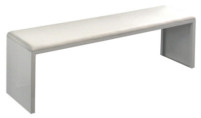 Möbel - Bänke - Irony Pad Bank - Zeus - Weiß - 160 x 36 cm - bemalter Stahl, Leder