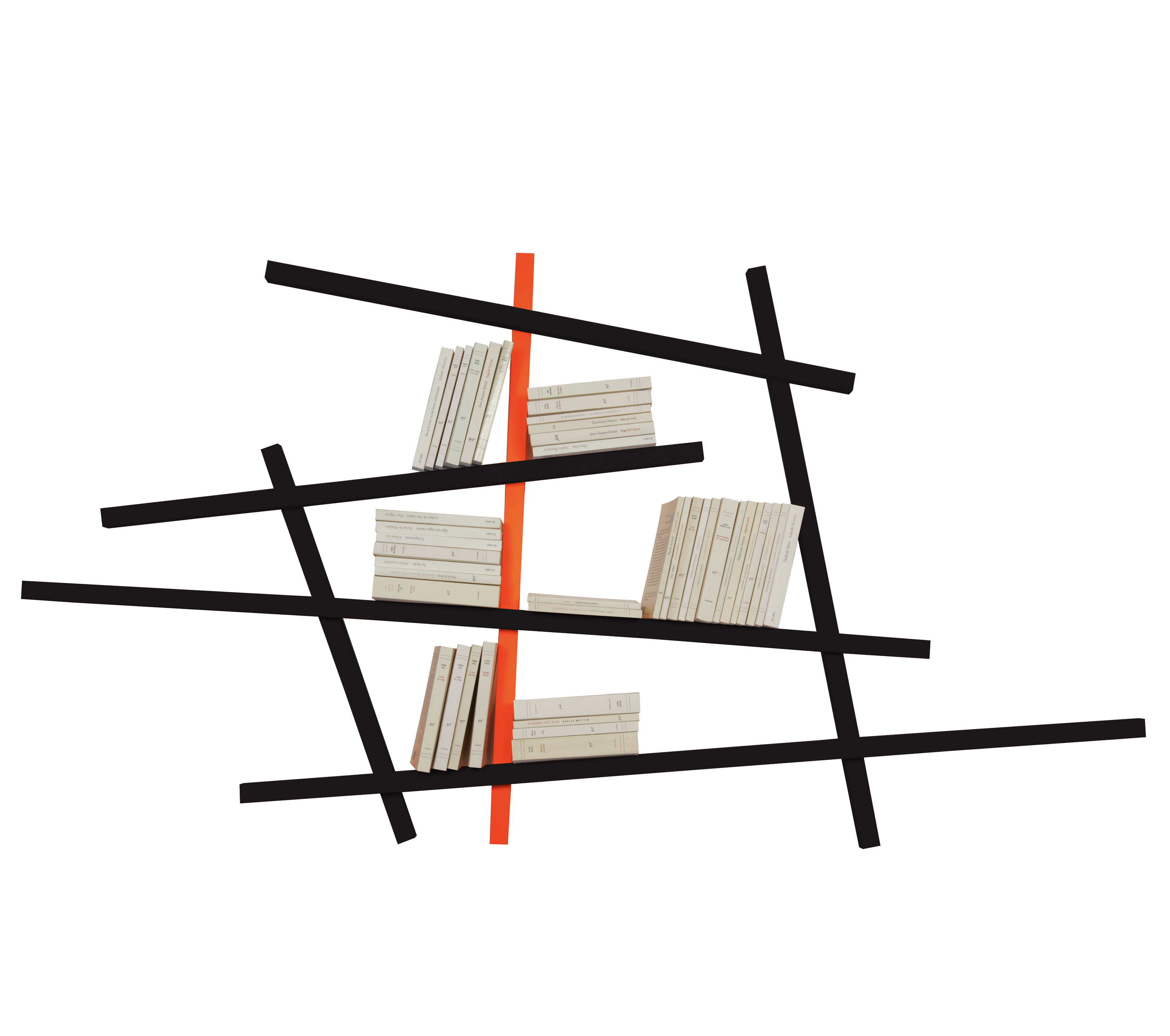 Mobilier - Etagères & bibliothèques - Bibliothèque Mikado Small / L 185 x H 100 cm - Coloris exclusif - Compagnie - Noir & orange - Chêne massif