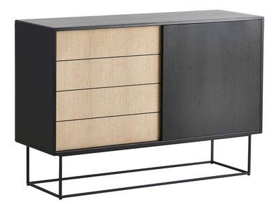 Buffet Virka High / Meuble TV - L 120 x H 82 cm - Woud noir/bois naturel en bois