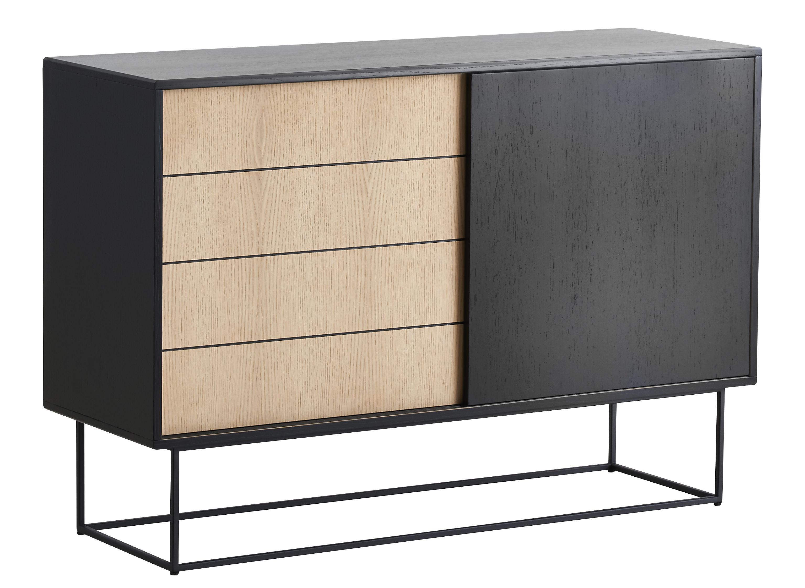 Mobilier - Commodes, buffets & armoires - Buffet Virka High / Meuble TV - L 120 x H 82 cm - Woud - Bois naturel / Noir - Contreplaqué de chêne, Métal