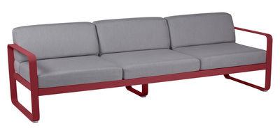 Canapé droit Bellevie 3 places / L 235 cm - Tissu gris - Fermob piment,gris flanelle en métal