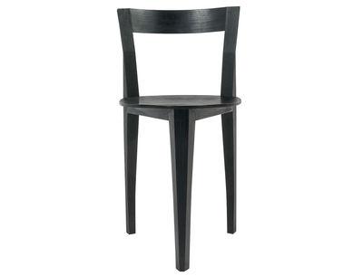 Mobilier - Chaises, fauteuils de salle à manger - Chaise Petite Gigue / Bois - Moustache - Noir - Chêne laqué