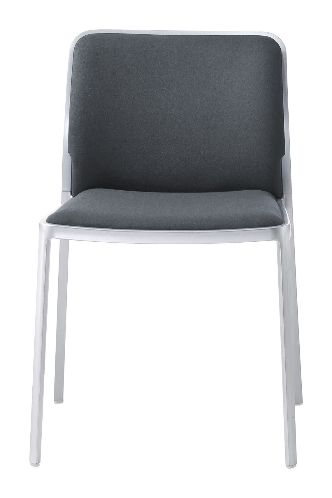 Mobilier - Chaises, fauteuils de salle à manger - Chaise rembourrée Audrey Soft / Structure alu mat - Kartell - Structure alu mat / tissu gris - Aluminium verni, Tissu