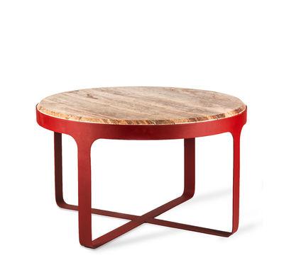 Furniture - Coffee Tables - Stoner Coffee table - / Ø 60 x H 35 cm - Travertine stone & metal by Pols Potten - Red stone / Red metal - Lacquered iron, Travertine stone