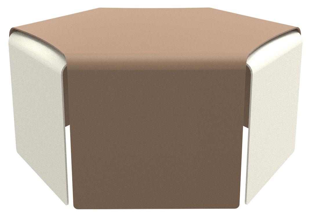 Möbel - Couchtische - Ponant Couchtisch / 2er-Set - stapelbar - outdoorgeeignet - Matière Grise - Sandfarben / weiß - bemaltes Aluminium