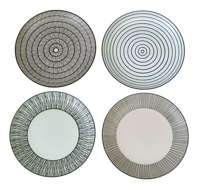 Tableware - Plates - Pastel Afresh Dessert plate - Ø 20 cm - Set of 4 - Hand painted by Pols Potten - Black & white - Enamelled china