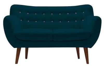 Arredamento - Divani moderni - Divano destro Coogee - / 2 posti - L 132 cm di Sentou Edition - Blu anatra / Bottoni: blu cielo - Espanso, Legno, Tessuto