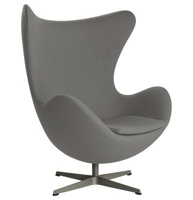 Möbel - Lounge Sessel - Egg chair Drehsessel Stoff - Fritz Hansen - Dunkelgrau - Gewebe, Glasfaser, poliertes Aluminium, Polyurethan-Schaum