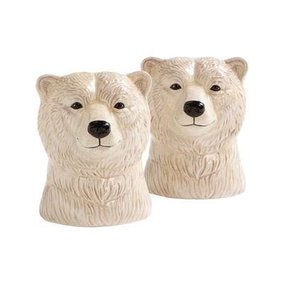 Arts de la table - Sel, poivre et huile - Ensemble salière et poivrière Polar bear / Porcelaine peinte à la main - & klevering - Ours polaire / Blanc - Porcelaine