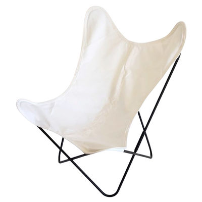 Mobilier - Fauteuils - Fauteuil AA Butterfly OUTDOOR / Coton - Structure noire - AA-New Design - Blanc - Acier thermolaqué, Coton traité pour l'extérieur