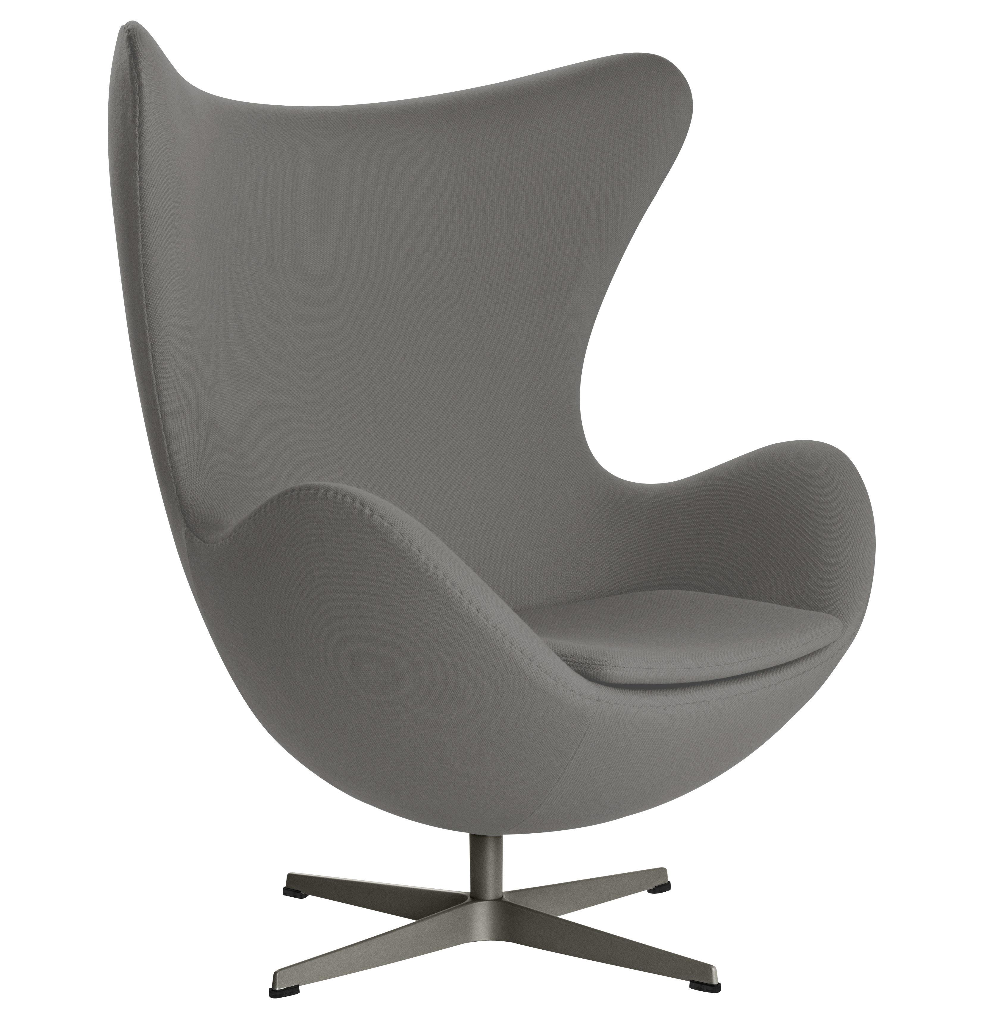 Mobilier - Fauteuils - Fauteuil pivotant Egg chair / Tissu Gabriele - Fritz Hansen - Gris foncé - Aluminium poli, Fibre de verre, Mousse de polyuréthane, Tissu