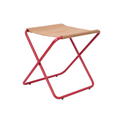Furniture - Stools - Desert folding stool - / Recycled plastic bottles - Red structure by Ferm Living - Red metal / Plain Taupe Fabric - Powder coated steel, Recycled fabric