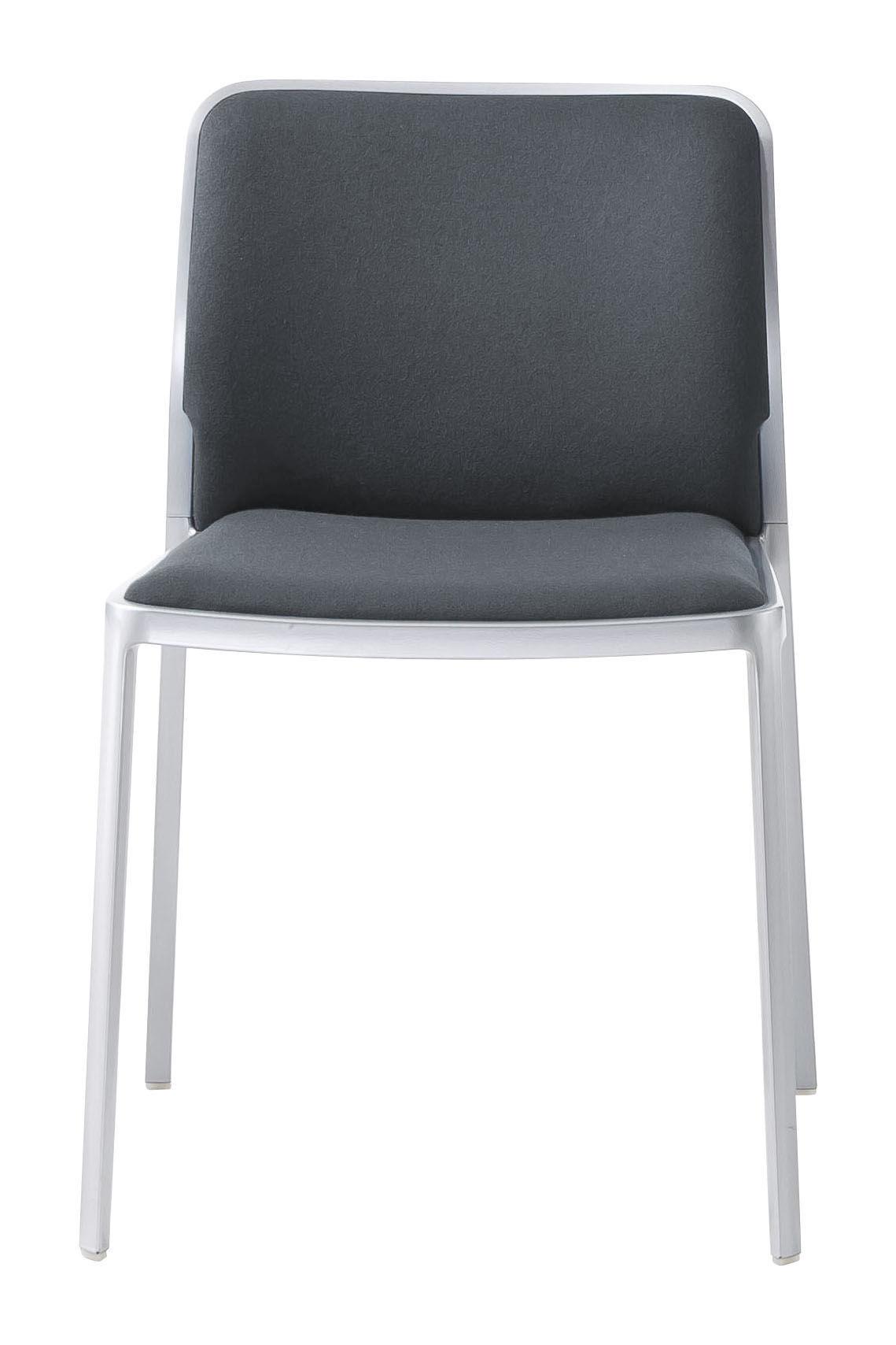 Möbel - Stühle  - Audrey Soft Gepolsterter Stuhl / Sitzfläche aus Stoff - Gestell Aluminium mattiert - Kartell - Gestell: Aluminium matt / Sitzfläche: Stoff grau - Gewebe, klarlackbeschichtetes Aluminium