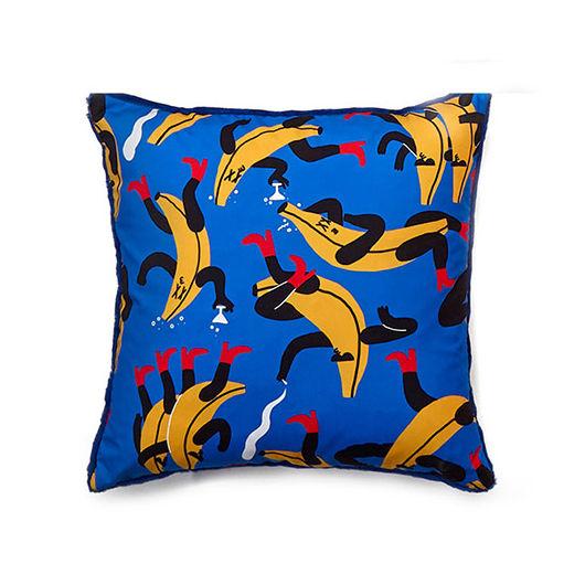 Dekoration - Kissen - Flora & Fauna - Banana Kissen / 40 x 40 cm - Sancal - Banana Guys / blau - Kunstpelz, Microfibre, Polyesterfaser