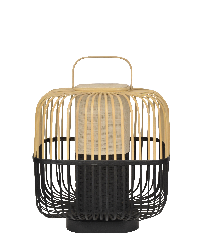 Illuminazione - Lampade da tavolo - Lampada da tavolo Bamboo Square - / Medium - H 56 cm di Forestier - Nero - Bambù, Legno tinto