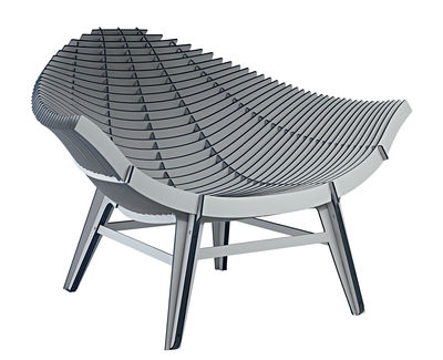 Furniture - Armchairs - Manta Low armchair - Indoor & outdoor by Ibride - Grey - Compact stratified layers  - Heat and water resistant