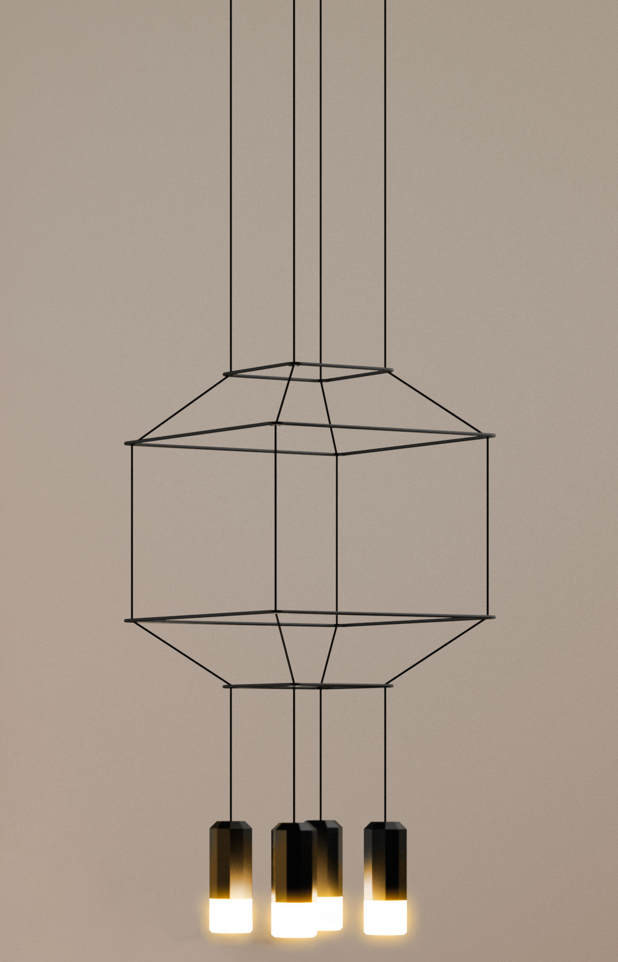 Leuchten - Pendelleuchten - Wireflow Pendelleuchte / 30 x 30 x H 32,5 cm - Vibia - Schwarz - Gewebe, Glas, lackiertes Metall, Teflon