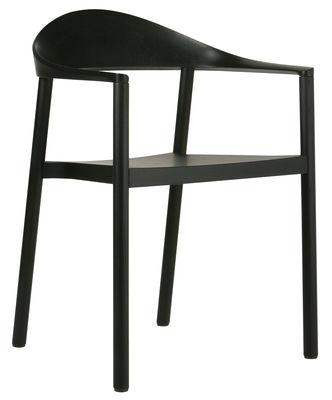 Image of Poltrona impilabile Monza - Struttura in legno nero di Plank - Nero - Materiale plastico/Legno